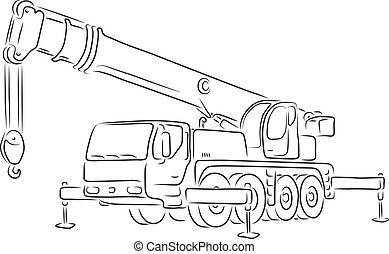 Outline of truck-mounted crane, vector - Hand-drawn outline...