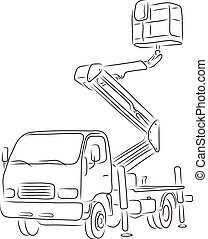Outline of bucket truck, vector illustration - Hand-drawn...