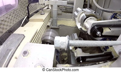 Inside view of running milling machine - Running milling...