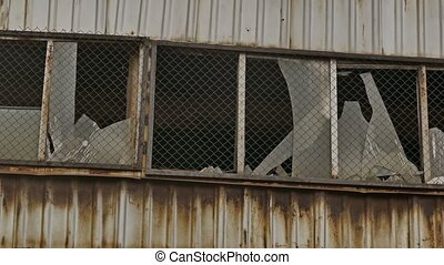 window glass abandoned broken warehouse factory - window...