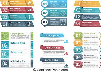 Infographic Templates with Numbers - Set of infographic...