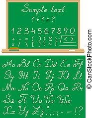 Font a school chalk - Font written by a chalk on a...