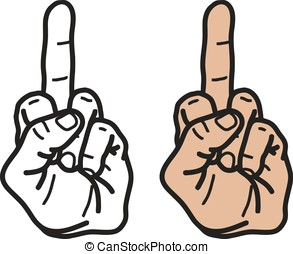 Middle Finger isoated. Vector illustration, EPS 10