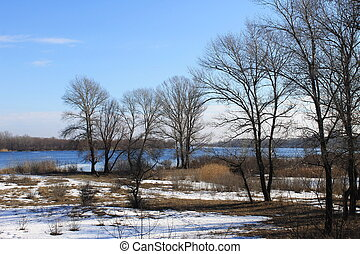 Winter river Dnieper - View on the river Dnieper in winter