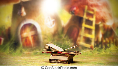 Old, magic, fairytale books - Pile of old books in front of...
