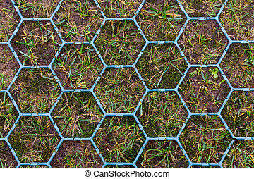 Hexagonal shaped anti skid footpath - Close up photo of...
