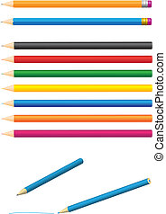 Pencil - Different colored pencils isolated on white...
