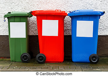 Garbage trash cans - Colorful garbage trash cans aligned...