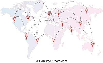 Air routes between cities with red pins on the world map