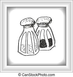 Simple doodle of salt and pepper pots - Simple hand drawn...