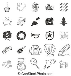 Set of 25 doodle illustrations - Set of 25 various hand...