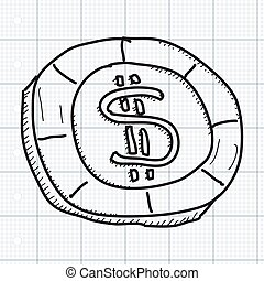 Simple doodle of a gambling chip - Simple hand drawn doodle...