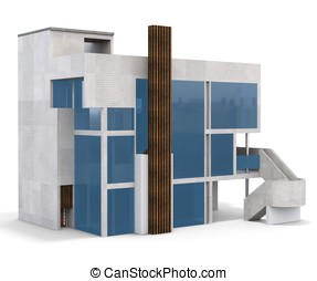 3d contemporary house on a white background