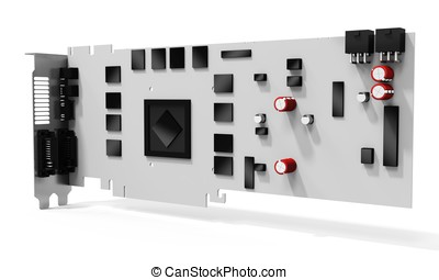 3d blank generic graphic video card on white background