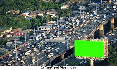 Greenscreen Billboard By Highway - Greenscreen billboard...