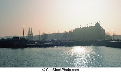 Historic Waterfront In Sunny Haze - Central Amsterdam...