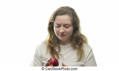 Fatty woman eating apple, first video from the series