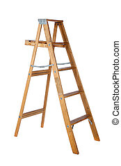 Wooden stepladder on a white background - A wooden...