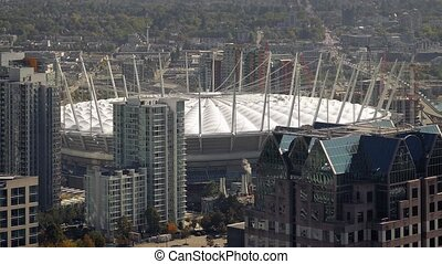 Huge Stadium In The City - City vista with impressive...