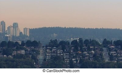 Suburbs Outside City In Evening - Nice suburban area with...