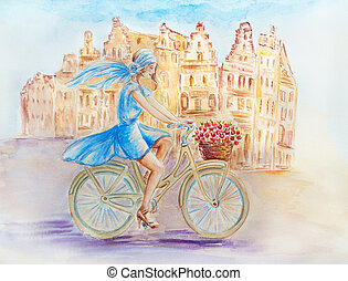 Girl on the bike - Girl on a bicycle in the old town