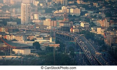 Major Highway Through The City - Urban landscape with large...