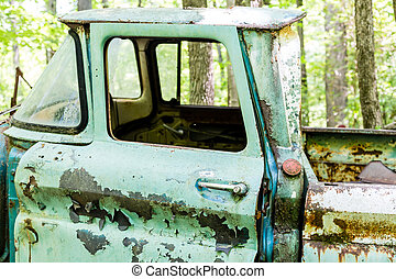 Green Pickup with Red Gas Cap - DETROIT, MICHIGAN - May 11,...