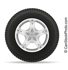 car wheel tire from the disk illustration