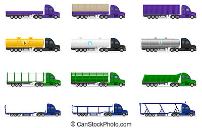 set icons trucks semi trailer illustration isolated on white...