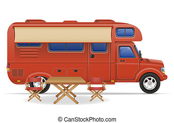 car van caravan camper mobile home illustration isolated on...