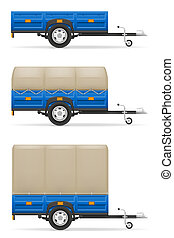 set icons car trailer for the transportation of goods...