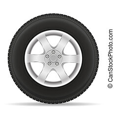 car wheel tire from the disk illustration isolated on white...