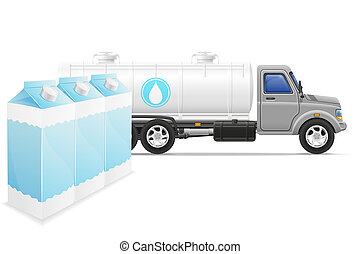 cargo truck delivery and transportation of milk concept illustration
