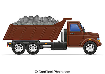 cargo truck delivery and transportation of construction materials concept illustration