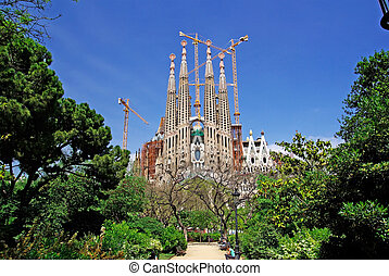 Sagrada Familia view from park Barcelona, Spain