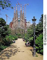 Street light in the park near Sagrada Familia Barcelona,...