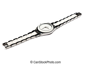 Studio shot of modern woman watch isolated on white background.