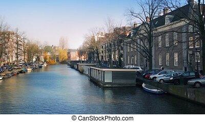 Pan Across Beautiful Canal Panorama