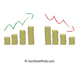 Profit and loss - Coins stacks with green and red arrows