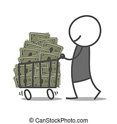 Withdrawal - Doodle man pushing shopping cart with bills.