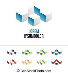 business logo design in abstract 3d geometric shape - vector...