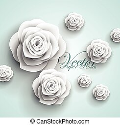 paper flowers abstract background - vector