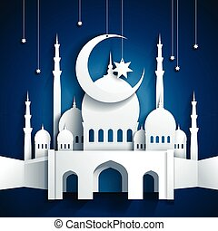 3d mosque and crescent moon with stars - Ramadan Kareem or Ramazan Kareem background - paper craft style - vector