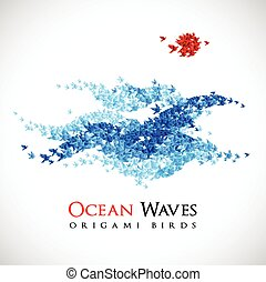 origami waves shaped from flying paper birds - vector