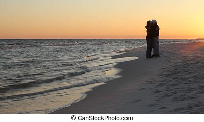 Mature Romantic Couple At Beach