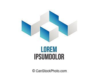 business logo design in abstract 3d geometric shape - vector icon
