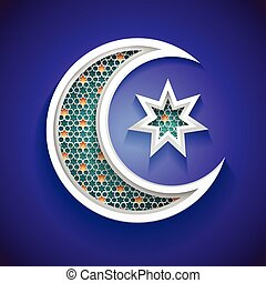 islamic background for ramadan - 3d crescent moon and star icon with arabic style pattern -  vector illustration