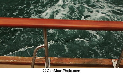 Yacht sailing on the sea in Montenegro, Budva close up -...
