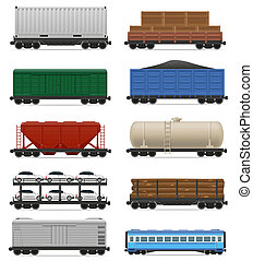 set icons railway carriage train illustration isolated on...