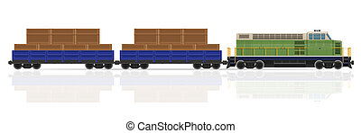 railway train with locomotive and wagons illustration